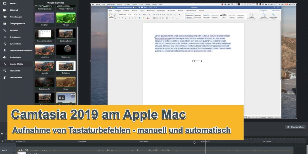 Camtasia automatisch Tastaturbefehle aufnehmen am Apple Mac