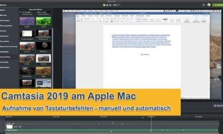 Camtasia automatisch Tastaturbefehle aufnehmen am AppleMac